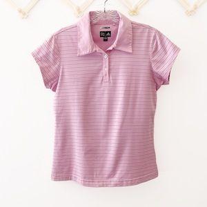 Adidas ClimaCool Striped Golf Shirt Pink Small